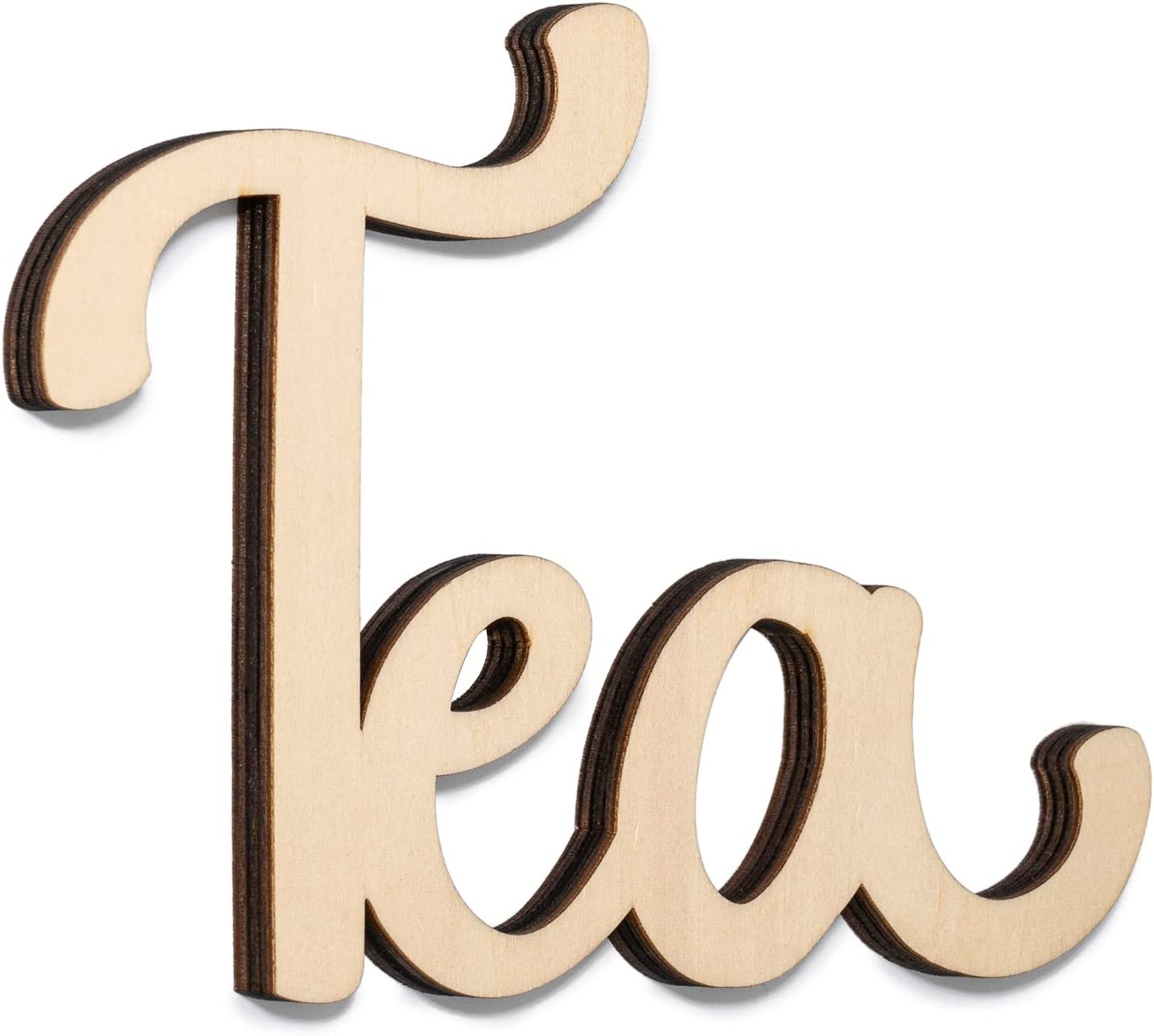 Way Of Hearts Wooden Tea Sign for Wall, Farmhouse Kitchen Wall Decor, Rustic Vintage Decorations, Laser Cut Out Word, DIY, Natural Plywood Script, 7.4
