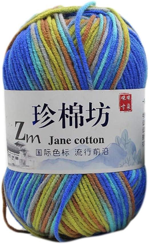 Hilo de algodón para tejer a mano, multicolor, hilo de crochet, 50 ...