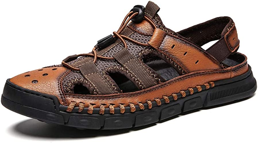 Sandals Beach Men Casual Summer Walking hollow out 100/% Genuine leather Slippers