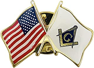 product image for Gettysburg Flag Works Set of 3 Freemason Masonic & U.S. Crossed Flags Double Waving Friendship Lapel Pin - Made in The USA