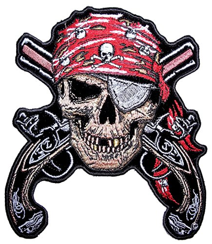Leather Supreme Pirate Skull Eye Patch Crossed Guns Embroidered Biker Patch-Red-Small