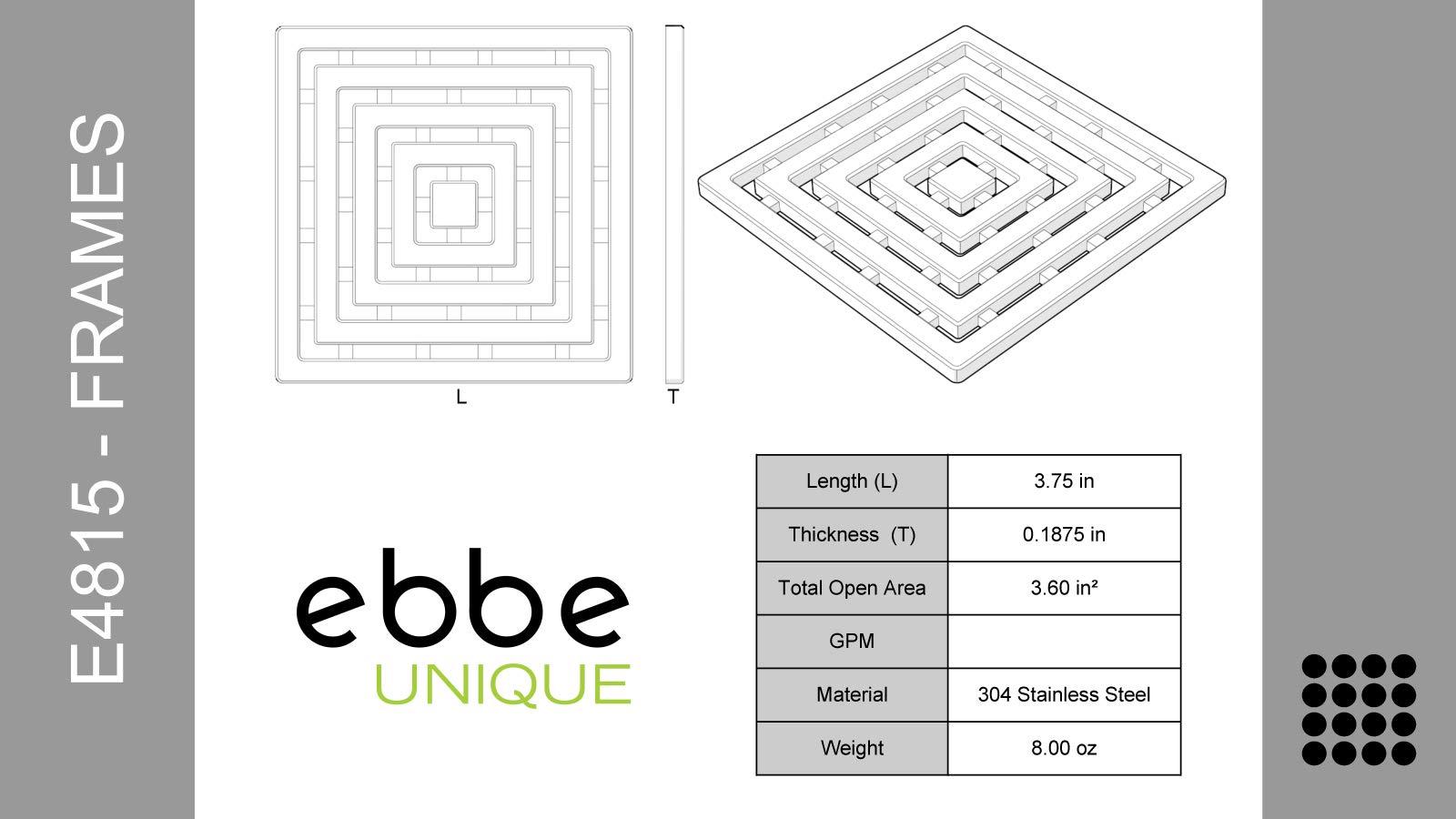 Ebbe E4815-PC-E4400 Unique Grate in Polished Chrome & Drain Riser w/T-Puller & Hair Trap by ebbe-America (Image #2)