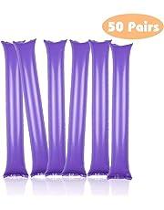 Thunder Sticks Bam Bam Cheer Sticks Blow Bar Inflatable Boom Sticks Noisemakers Stick Football Noisemakers Party Favors Purple 50 Pairs