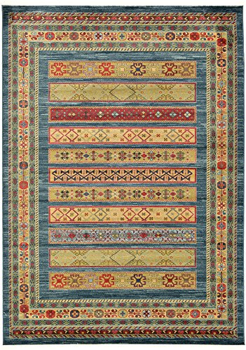 Unique Loom Fars Collection Tribal Modern Casual Blue Area Rug (7' 0 x 10' 0) (Tribal Brand Rugs)
