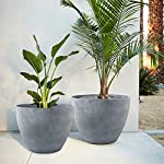 Flower-Pot-Garden-Planters-12-Pack-2-Outdoor-Indoor-Unbreakable-Resin-Plant-Containers-with-Drain-Hole-Grey