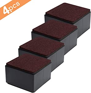 "Ezprotekt Bed and Furniture Square Risers, 4 Pack Elevator up to 2"" Per Riser and Lifts up to 5,000 LBs - Protect Floors Wont Scratch Wood and Carpet Surface – Anti Slip Bottom (Square,2 Inch Black)"