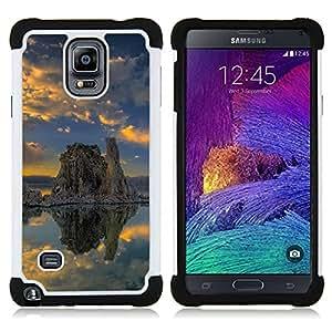"""Hypernova Híbrido Heavy Duty armadura cubierta silicona prueba golpes Funda caso resistente Para Samsung Galaxy Note 4 IV / SM-N910 [Naturaleza solitaria roca""""]"""