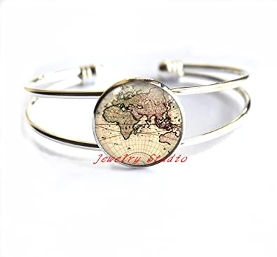Amazon world map bracelet post earth bracelets simple world map bracelet post earth bracelets simple bracelet globe earth bracelet gift gumiabroncs Choice Image