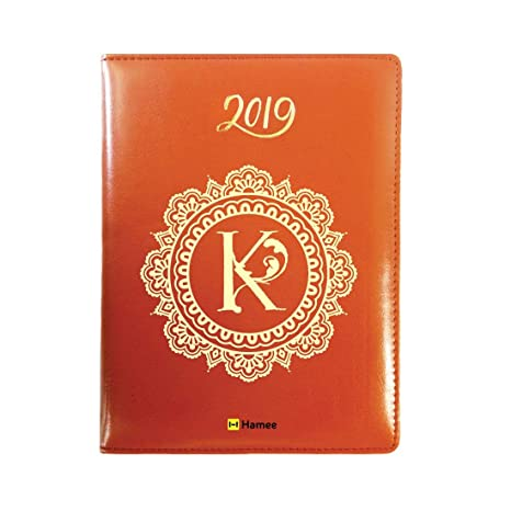 2019 - Agenda (piel, letra K), color marrón: Amazon.es ...