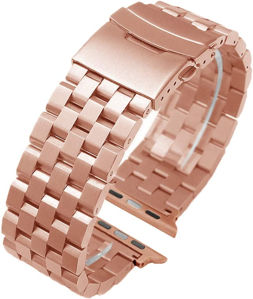 Fashion Rose Gold Stainless Steel Watch Band Compatible for Apple 42mm/44mm Silver Matte Metal Watch Strap Replacement Wristband for iWatch Series 6 SE 5 4 3 2 1 Safety Double Lock