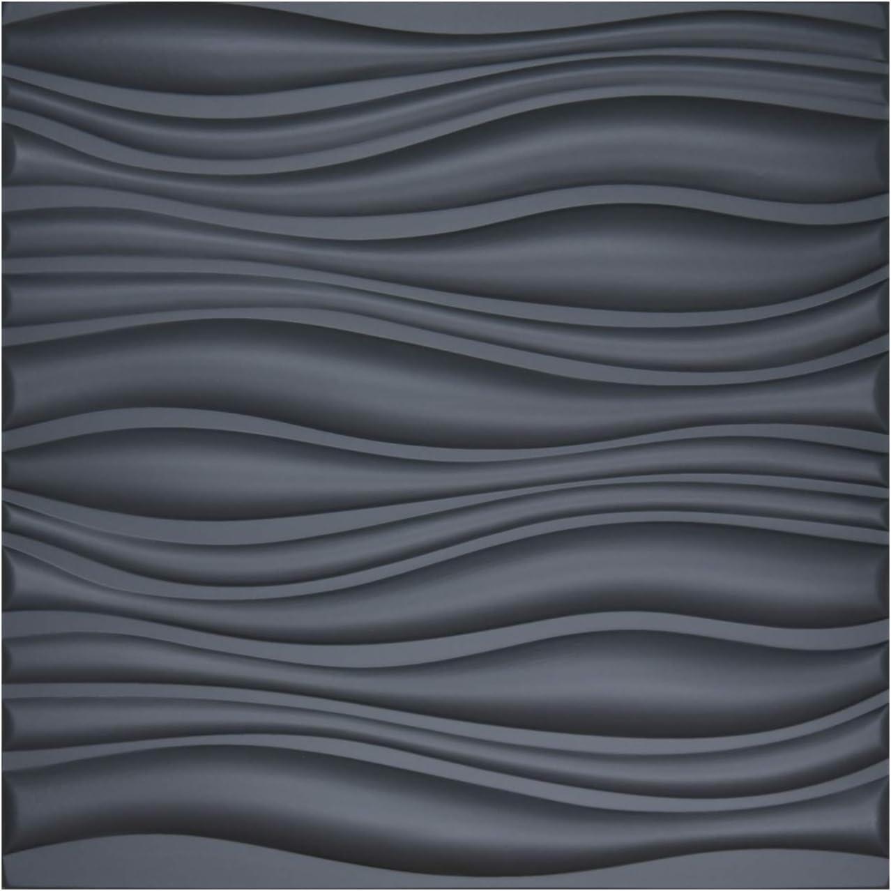 Art3d 3D Leather Tiles Decoartive 3D Wall Panels, Black Wave 23.6
