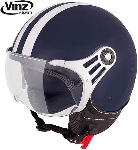 XS, Blau Vinz Rollerhelm Jethelm Fashionhelm Roller Jet Helm mit Streifen Motorradhelm mit Visier in Gr ECE zertifiziert XS-XL