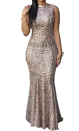 Women Sleeveless Blush Sequins Cut Out Keyhole Back Party Gown