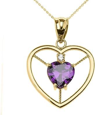 14K Yellow Gold Diamond /& Oval Amethyst February Stone Pendant