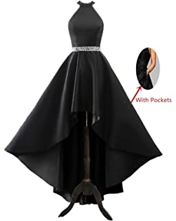 6fb68cd563 Changuan Halter High Low Evening Party Dress Long Satin Homecoming Prom  Formal Gowns