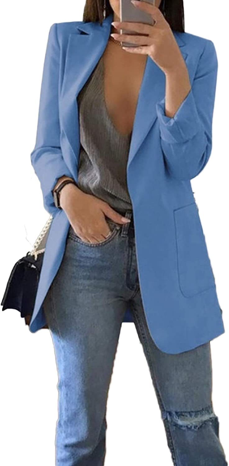 Women's Blazer Casual Work Office Open Front Blazer Jacket Cardigan Solid  Color with Pockets at Amazon Women's Clothing store