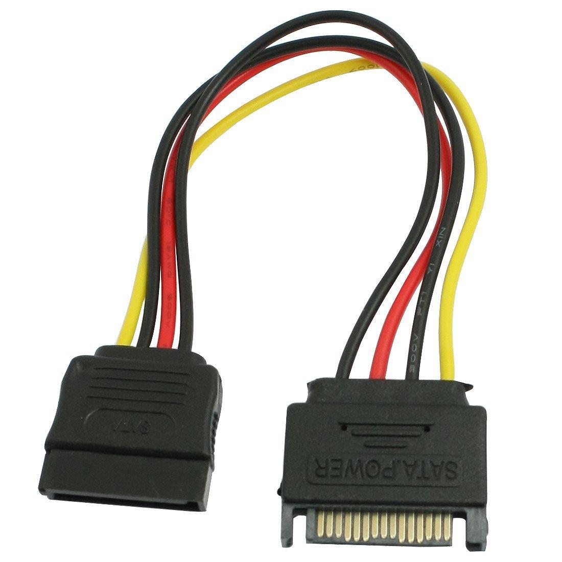 SODIAL(R) PC SATA 15 Pin adaptador de convertidor macho a hembra HDD Cable de alimentacion 039628