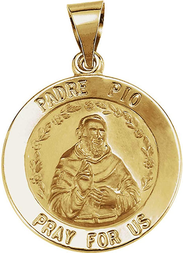 Eliana and Eli 14K Yellow 18mm Round Hollow Padre Pio Medal