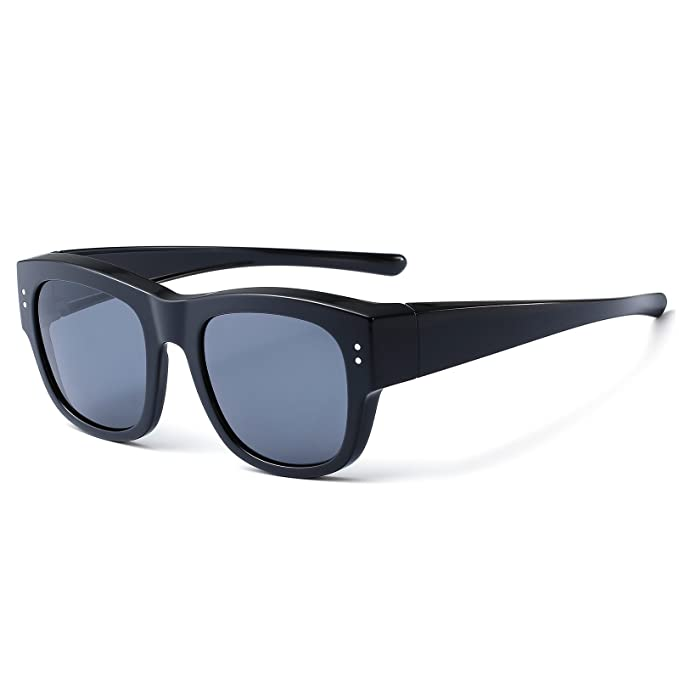248c26c0b8 CAXMAN Oversized Fits Over Sunglasses Mirrored Polarized Lens for Prescription  Glasses with Soft PU Case