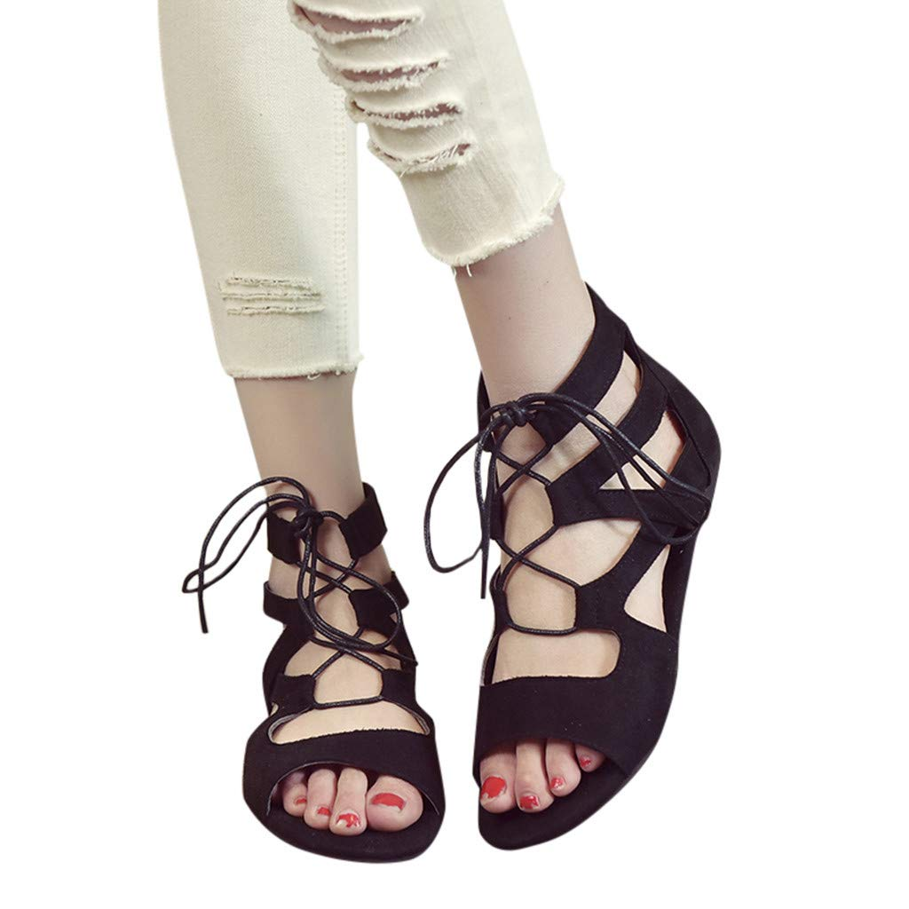 BEAUTYVAN Womens Flat Sandals Peep Toe Rome Lace-up Ankle Strap Casual Sandal Summer Gladiator Shoes