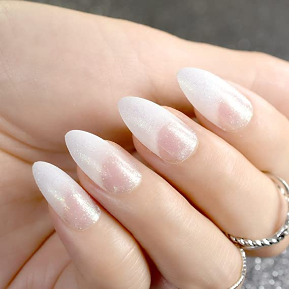 EchiQ - Clavos falsos de color blanco con purpurina brillante punteada Stiletto para uñas postizas: Amazon.es: Belleza