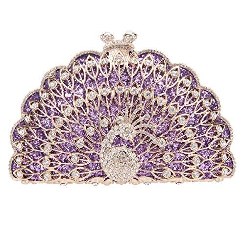 Fawziya Peacock Purse Evening Bag Metallic Animal Shape Clutch Cute Clutches-Purple