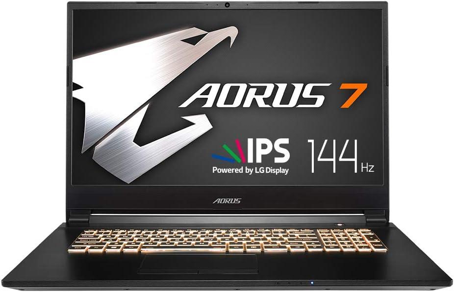 "AORUS 7 NA-7US1021SH 17"" Thin Bezel LG 144Hz FHD IPS LCD, i7-9750H, NVIDIA GeForce GTX 1650, Samsung 8GB RAM, Intel M.2 PCIe NVMe 256GB SSD, 1TB HDD, RGB Keyboard, Win10 Home, Ultra Slim Gaming Laptop"