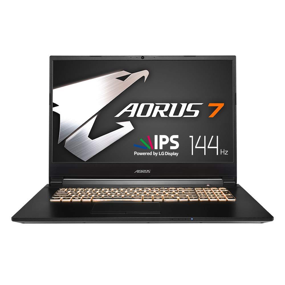 AORUS 7 NA-7US1021SH 17 Thin Bezel LG 144Hz FHD IPS LCD, i7-9750H, NVIDIA GeForce GTX 1650, Samsung 8GB RAM, Intel M.2 PCIe NVMe 256GB SSD, 1TB HDD, RGB Keyboard, Win10 Home, Ultra Slim Gaming Laptop