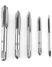 Akozon 5pcs Screw Thread Taps Straight Flute Tapping Tool Set M3/ M4/ M5 /M6 /M8