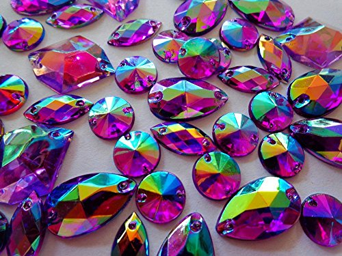 300pcs Mixed Shape Size Purple AB Colour Crystal Sew on Rhinestones Acryl Loose Beads Hand Sewing Strass by Zbroh