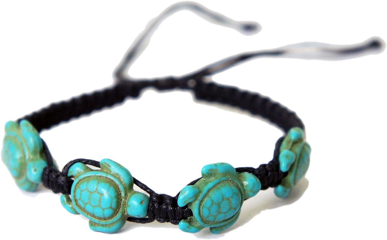 EXOTICDREAM Turtle Macrame 4 Beads Bracelet Hemp Handmade Reggae Jamaican Hawaiien Style Single Strand