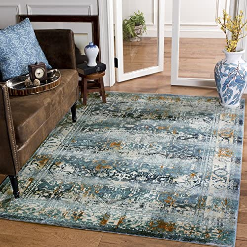 Safavieh Baldwin Collection BDN191C Teal and Ivory Vintage Area Rug 9 x 12