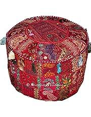 Indiase ronde patch werk geborduurd Ottomaanse poef, Indiase ronde Ottomaanse kruk Poef kussen patroon Cocktail Vintage Hassock Poef, katoen handgemaakte Ottomaanse poef, 18x13 Inch. door Bhagyoday