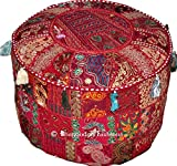 Indian Round Patch Work Embroidered Ottoman Pouf, Indian Round Ottoman Stool Pouf Pillow Patterned Cocktail Vintage Hassock Pouffe, Cotton Handmade Ottoman Pouf, 18x13 Inch. By Bhagyoday