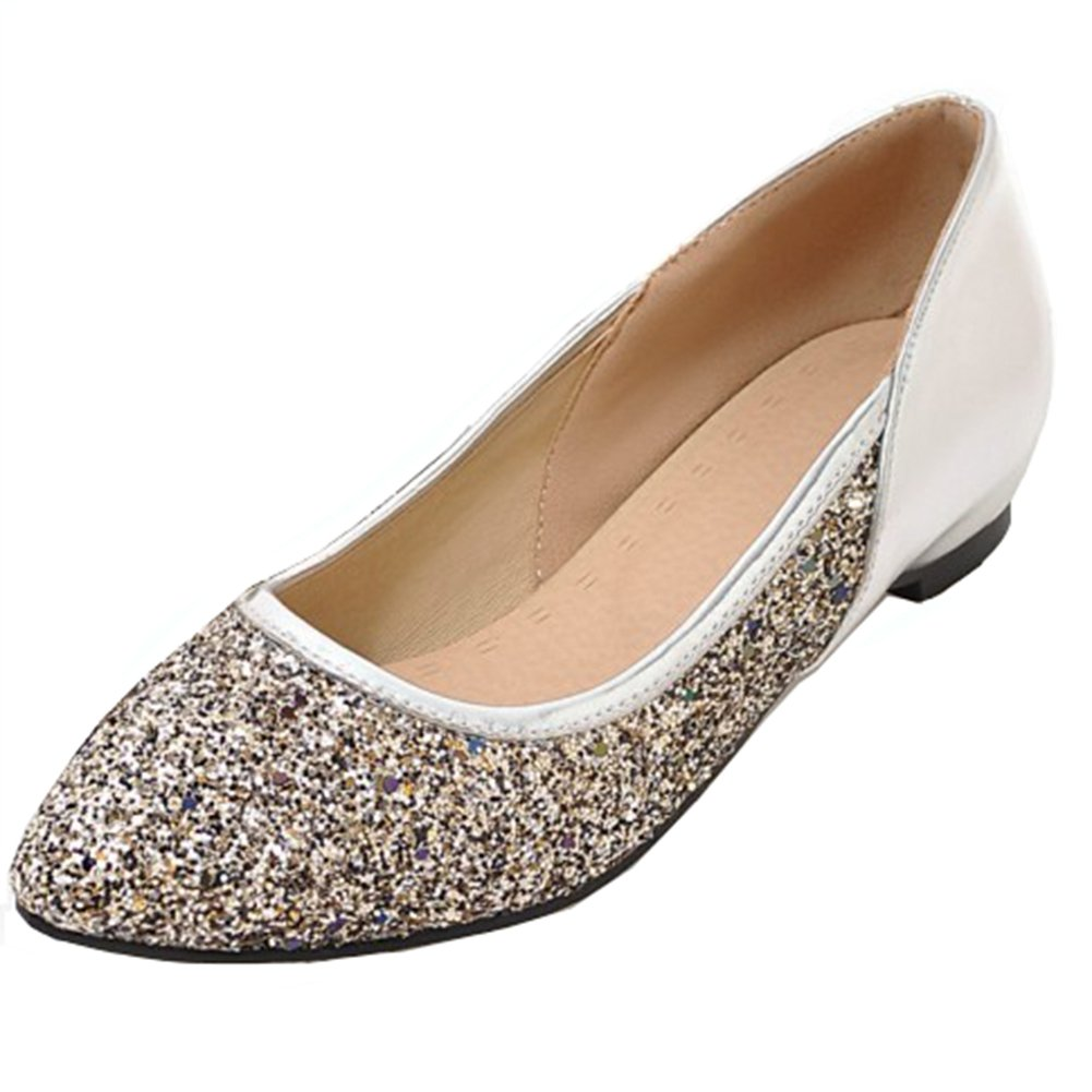 Aisun Women's Sparkly Sequins Low Cut Pointed Toe Dress Driving Cars Go Easy Slip on Flats Shoes (Silver, 9 B(M) US)