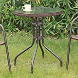 1PerfectChoice NEW Simple Stylish Round Patio Outdoor Yard Garden Table Glass Top Resin Wicker