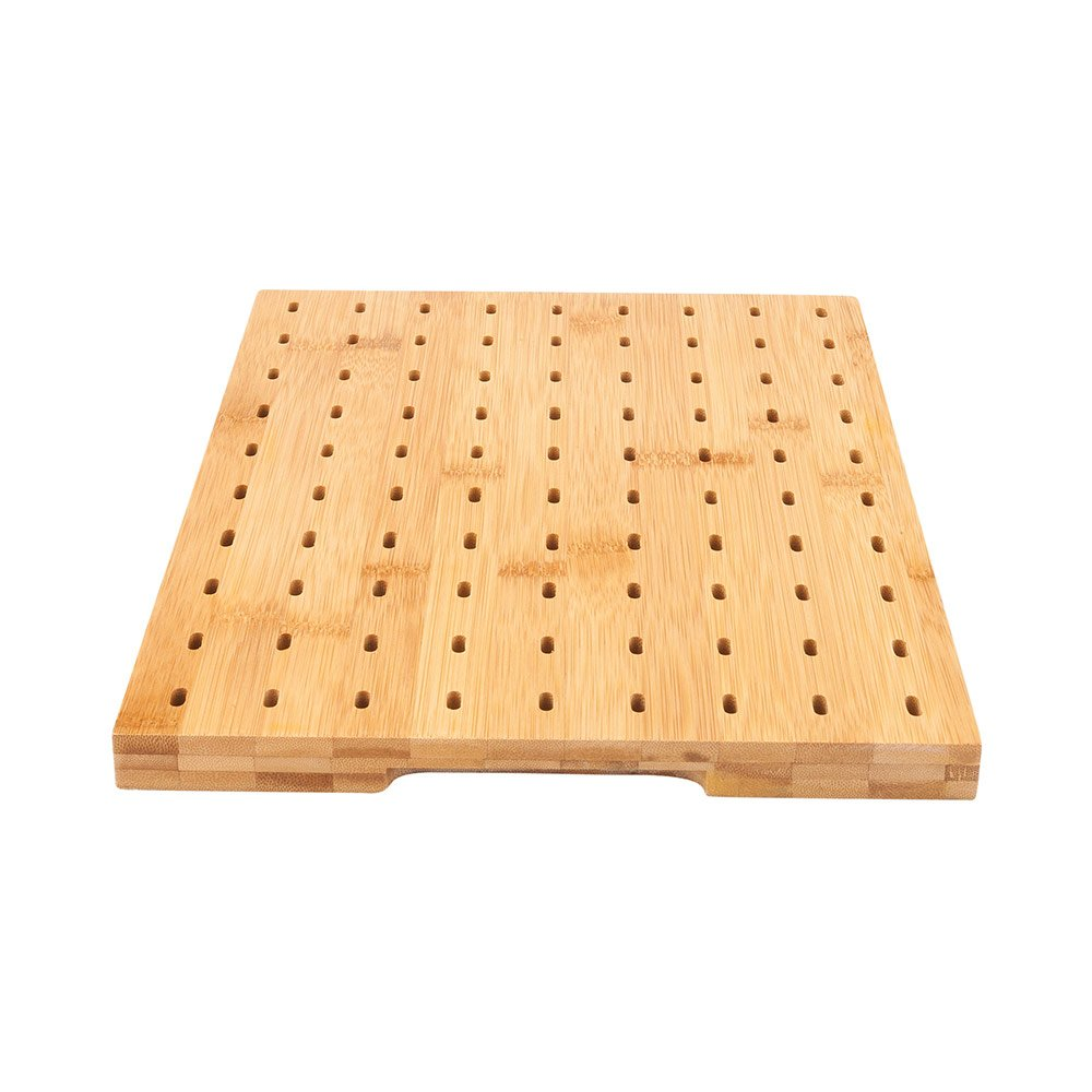 14'' x 10'' Rectangular Bamboo Paddle Food Skewer Holder: Perfect for Cocktail Parties and Catering Events - Biodegradable Paddle Pick Stand and Food Display - 90 Holes - 1-CT - Restaurantware by Restaurantware
