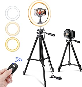 """10"""" Selfie Ring Light with Tripod Stand & Phone Holder for Makeup and YouTube Live Streaming, Torjim Dimmable LED Camera Beauty Ringlight Lamp with 3 Light Modes & 11 Brightness Levels"""