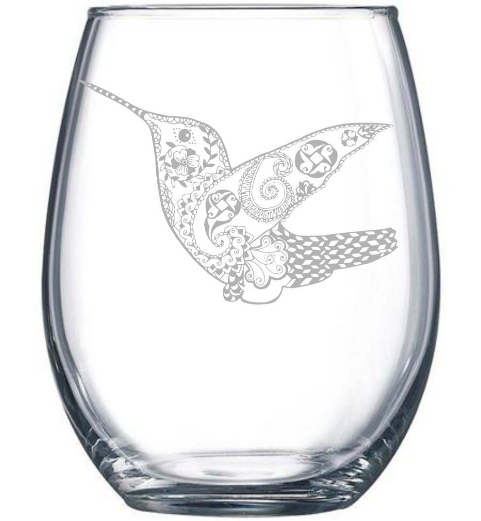 Hummingbird stemless wine glass, 15 oz.