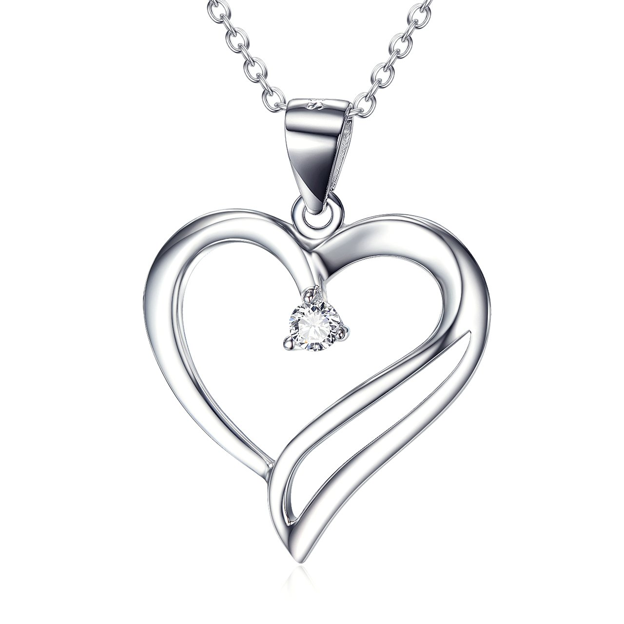 Sterling Silver You Are The Only One In My Heart Pendant Necklace for Women, Rolo Chain 18''