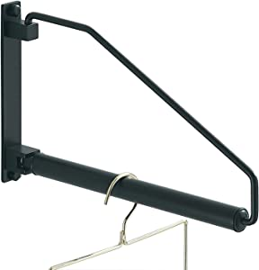 NEWRAIN Folding Clothes Hanger Rack, Wall Mounted Laundry Racks for Drying Clothes,Swing Clothing Hanging System Drying Closet Storage Organizer Black