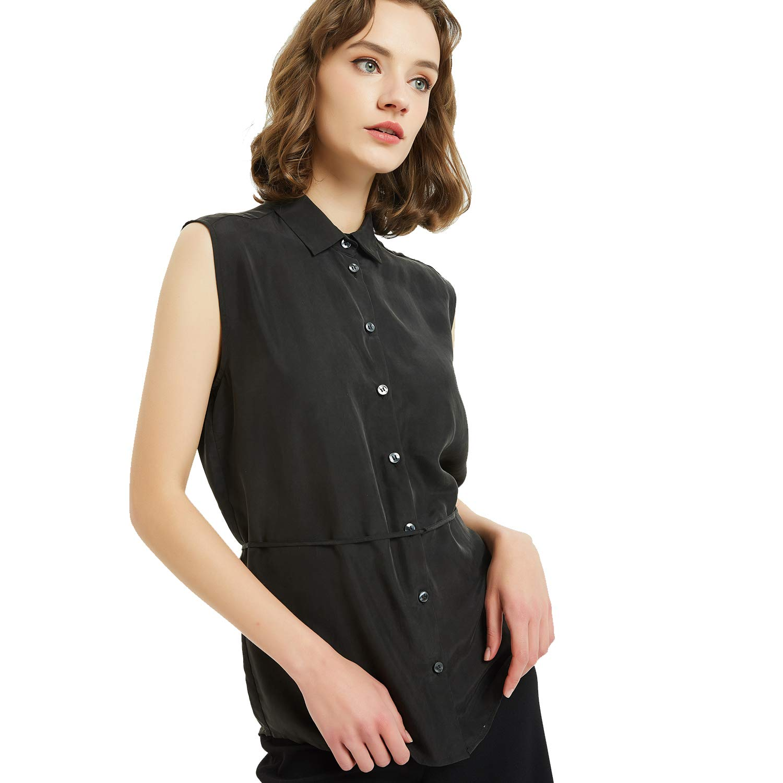 NEW DANCE dam blus basic stretch skjortblus elegant ärmlös business blus button down för kontor svart