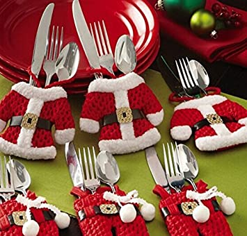6 set christmas table decorations christmas silverware holder santa suit dinner flatware holders - Christmas Silverware Holders