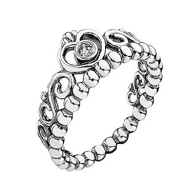 e8f065bd52da2d AllenCOCO My Princess Ring in 925 Sterling Silver White Clear Cubic  Zirconia Crown Ring (6
