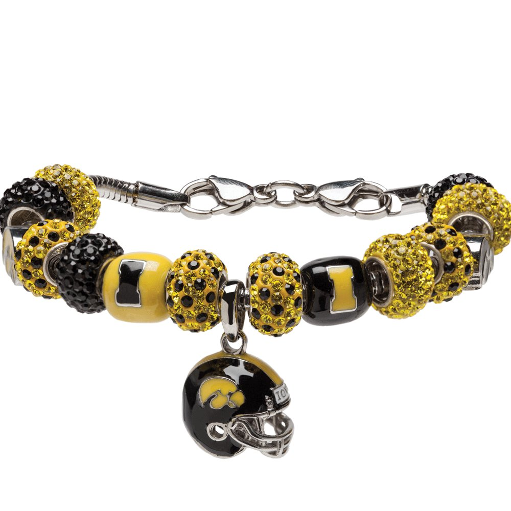 University of Iowa Necklace | UI Hawkeyes - Bracelet with 5 Hawkeyes Beads and 10 Crystal Charms | Officially Licensed University of Iowa Jewelry | UI Charm Bracelet | UI Gifts | Stainless Steel
