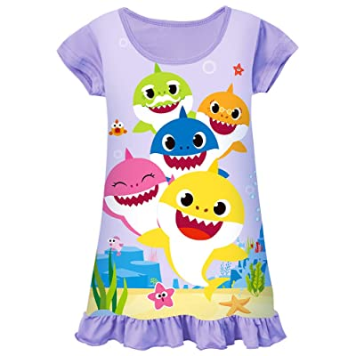 AOVCLKID Toddler Girls Baby Princess Pajamas Shark Cartoon Print Nightgown Dress: Clothing
