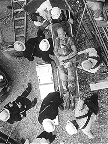Vintage photo of One of the injured at the concrete slump in Rosenlund Hospital carried away on a stretcher by (Concrete Slump)