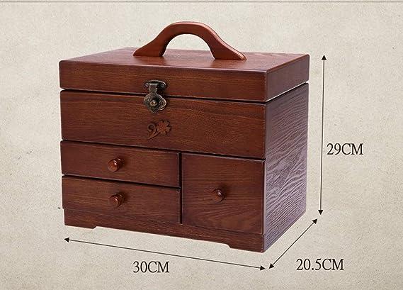 LWKBE Antigua Canasta de Costura de Madera - 3 Capas DIY Organizador de Suministros para zurcir Caja de Costura con 3 cajones Regalo de Boda 11.8 x 8 x 11.4 Pulgadas: Amazon.es: Hogar