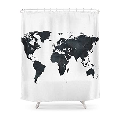 Amazon.com: Society6 World Map In Black And White Ink On Paper Globe ...