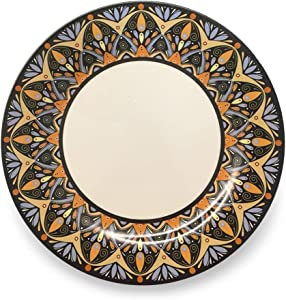 """Bowla Melamine Dinner Plates Set - Set of 6, indoor or ourdoor plates (11"""" -6 Piece Set, India Style)"""